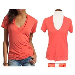 Monrow coral double layer v-neck tee